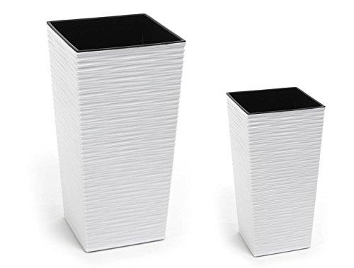 Lot de 2 Kreher Design Pot en plastique texturé blanc mat avec compartiments amovibles. Dimensions en cm : 40 x 40 x 75,3 cm et 30 x 30 x 57 cm