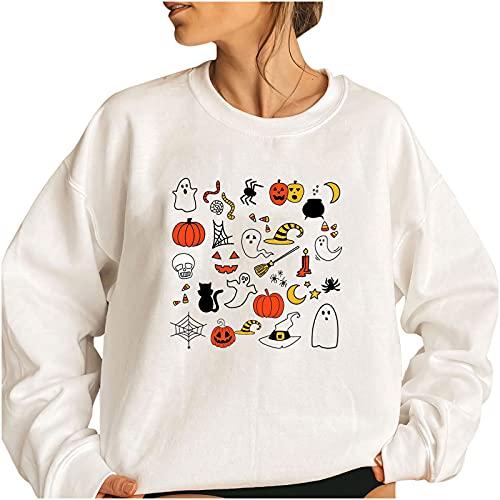 Wave166 Sudadera de mujer de gran tamaño, para Halloween, disfraz de calabaza, blusa para otoño e invierno, camiseta de manga larga, corte holgado, elegante, túnica