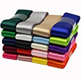 1 Inch Wide Solid Color Double Sided Polyester Satin Ribbon 20 Colors X 2 Yard Each Total 40 Yds Per Package