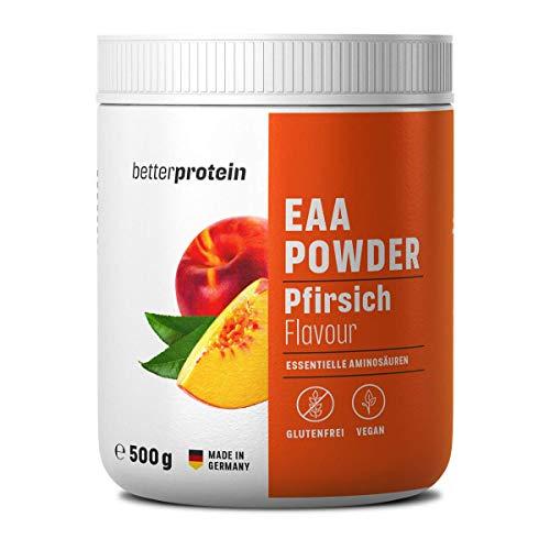 EAA Pulver Pfirsich Zero 500g - Made in Germany & Laborgeprüft - BetterProtein® - alle essentiellen Aminosäuren zum Muskelaufbau und Abnehmen - Vegan - Beutel