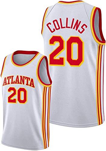 ZMIN Jerseys de Baloncesto de los Hombres, Atlanta Hawks # 20 Collins, Chaleco Transpirable Suelto Uniformes Confort sin Mangas Camisetas Tops,Blanco,XXL