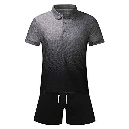 Herren 2 Stück Trainingsanzüge Sommer Sportanzug Farbverlauf Home Kurzarm Poloshirt T-Shirts Shorts Sportswear Sets Licht Atmungsaktiv Große Größen Jogging Fitness Sport Dünne Outfit