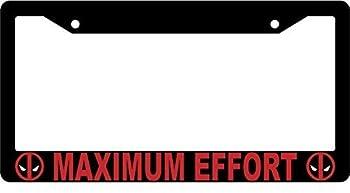 ClustersNN Maximum Effort Black Metal License Plate Frame Deadpool