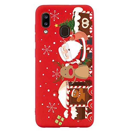 Yoedge Funda para Samsung Galaxy A40, Cárcasa Silicona Rojo Navidad con Dibujos Nieve Ciervo de Diseño Antigolpes...
