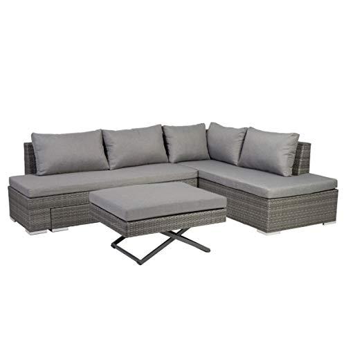 greemotion Lounge-Set Luzia, graues Gartenmöbel-Set aus Polyrattan, multifunktionale Sitzgruppe für in- und outdoor, inkl. Kissen in Anthrazit