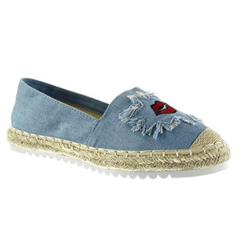 Angkorly - Scarpe Moda Espadrillas Mocassini Slip-on Suola di Sneaker Donna Fantasia Ricamo Corda Tacco Tacco Piatto 2.5 CM - Blu LX146 T 39
