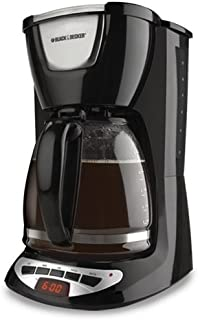 Black & Decker DCM100B 12-Cup Programmable Coffeemaker with Glass Carafe, Black