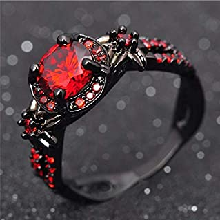 Duan Finger Rings White Fire Opal CZ Fashion Round Red Ruby Ring Women's 10KT Black Gold Filled Wedding Jewelry Size 6-10 (US Code 6)