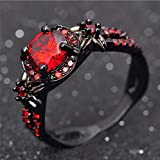Duan Finger Rings White Fire Opal CZ Fashion Round Red Ruby Ring Women's 10KT Black Gold Filled Wedding Jewelry Size 6-10 (US Code 8)