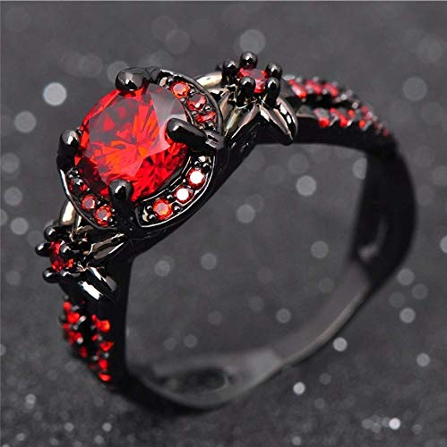 Duan Finger Rings White Fire Opal CZ Fashion Round Red Ruby Ring Women's 10KT Black Gold Filled Wedding Jewelry Size 6-10 (US Code 9)