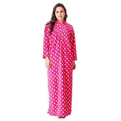 BOMBSHELL Women's Heavy Woolen/Blanket Fabric Nighty|Night Wear|Night Dress (Color-Pink)