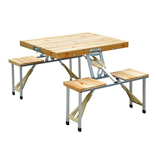 Outsunny Holz Campingtisch Klapptisch Picknicktisch Picknick-Koffer-Sitzgruppe Klapptisch-Gruppe mit 4 Sitzen Alu + Tannenholz 85 x 72,5 x 68 cm