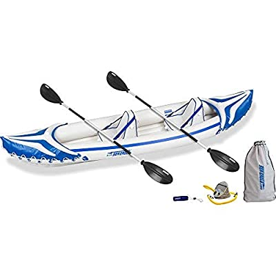 Sea Eagle SE370SK_P 3 Person Blow Up Inflatable Lightweight Rugged Portable Sport Tandem Kayak Canoe Including Back Seats and Bag, White/Blue