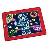 ZHANYIS Zeichenbrett Desktop, LED Schreibtafel 3D Magic Drawing Pad Kreative Kinder Zeichnung Spielzeug (rot) (Color : Red) -