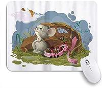 NINEHASA 可愛いマウスパッド 秋の雨の中の動物カラフルな幼稚なマウスとてんとう虫 ノンスリップゴムバッキングコンピューターマウスパッドノートブックマウスマット