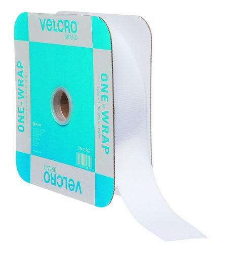 VELCRO Brand ONE-WRAP Bundling Ties � Reusable Fasteners for Keeping Cords and Cables Tidy � Cut-to-Length Roll, 45ft x 1 1/2in, White, 91882