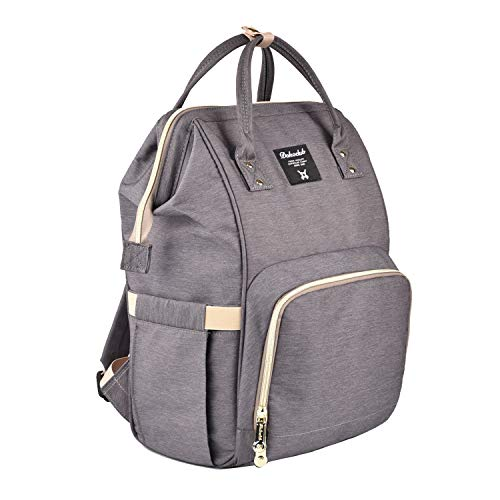 Diaper Bag Organizer Insulated Waterproof Travel Nappy Backpack Large Capacity Tote Shoulder Nappy Bags for Mommy Backpack with Multi-Function, Durable and Stylish (Gray)