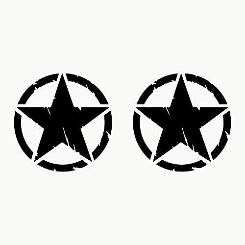 Autodomy 4x4 Off Road Army Stern Militär Zerstört Military Star US Army Aufkleber Verschiedene Größen 10 cm 15 cm 20 cm Paket 2 Stück für Auto (Schwarz, 10 cm)