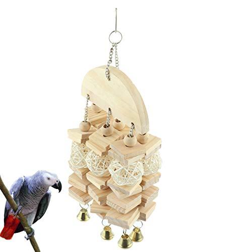 Baoblaze Juego de Juguetes para Pájaros para Jaula de Pájaros, Pinzones de Agapornis Que Mastican El Juguete Colgante para Columpios - 15x41cm