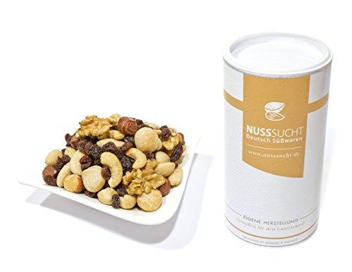 Nussmischung Studentenfutter, geröstet   Inhalt: 250g   Mandeln, Macadamia, Haselnüsse, Walnüsse und Rosinen  ohne Zusatz- und Konservierungsstoffe