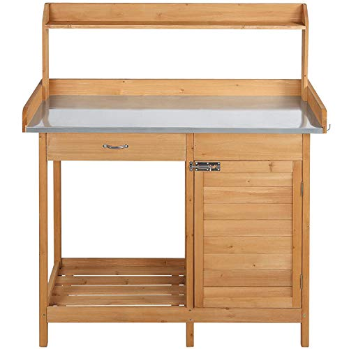 YAHEETECH Potting Bench Outdoor Garden Work Bench Station Planting Solid Wood Construction with Cabinet Drawer Open Shelf