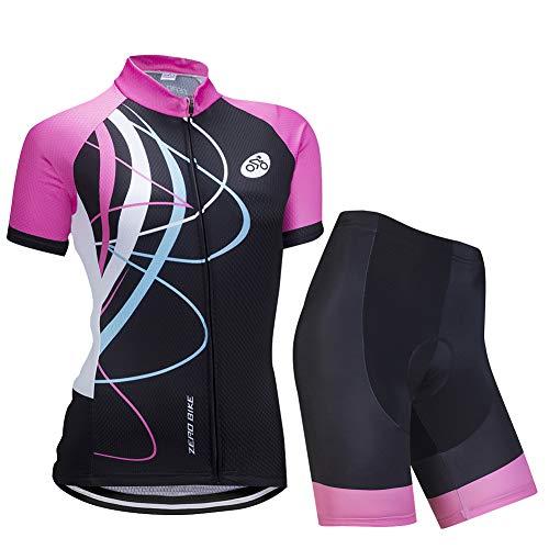 Donne Manica Corta Jersey Abbigliamento Set, Ciclismo Magliette Corta Jersey Camicia + 3D Gel Imbottito Pantaloncini Ciclismo Equitazione Bike Sportswear, L, Galloping Rosa