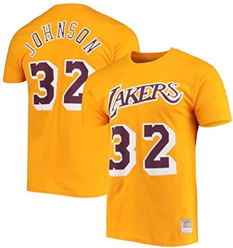 WZ Camiseta para El Verano para Hombre-Hombres del Alfabeto De Color Sólido Ocasional Lakers Magic Johnson # 32 De Cuello Redondo Camiseta De Algodón para Hombre,3XL:185~190cm