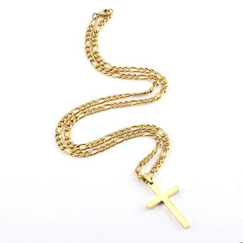 BJGCWY Collares Pendientes Cruzados para Hombres y Mujeres, Collar Colgante de Acero Inoxidable 50 cm Dorado 4,5 mm