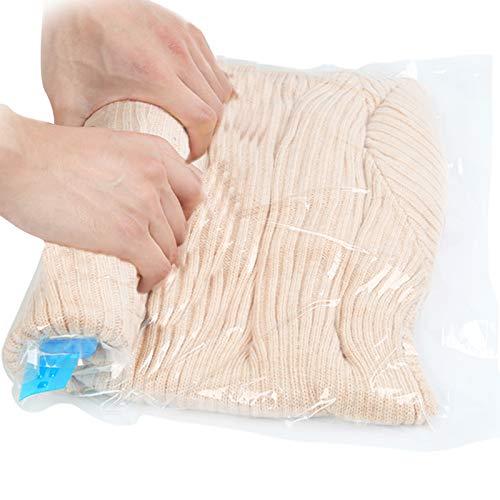 Qliver 8tlg. Set Reise Vakuumbeutel zum Rollen 8 Stück Vakuum Aufbewahrungbeutel für Reise , Kleidung, Decken, Handtücher Reise vakuum Kleiderbeutel keine 3 verschiedene Größen transparent