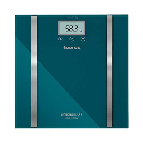 Taurus Syncro Glass Báscula baño digital, porcentaje grasa y agua, diseño slim, 28 x 28 x 2 cm, máximo 180 kg/mínimo 3 kg, kg/lb, verde metálico