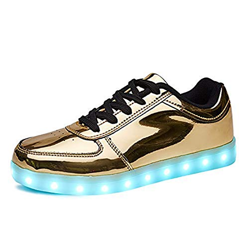 Rojeam Unisex Erwachsene LED Schuhe Sportschuhe USB Lade Outdoor Leichtathletik Beiläufige Paare Schuhe Sneaker Gold 35 EU