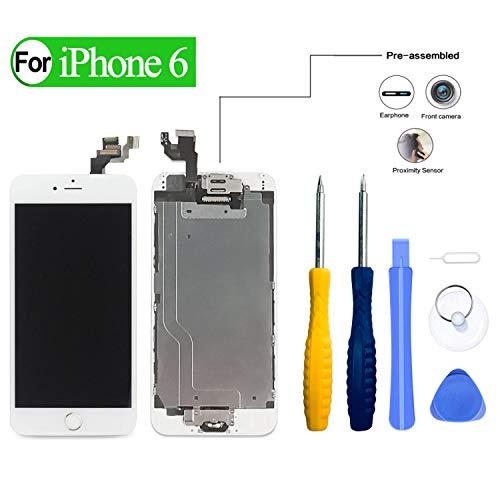 HDXYW kompatibel mit iPhone 6 Weiß Display Reparaturset, Komplett Ersatz Bildschirm Touchscreen mit Gehärtetes Glas öffnungswerkzeug vormontiert mit Home Button,Frontkamera 2020 [Verbesserte]