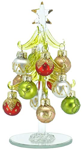 6 Inch Mini Glass Christmas Tree Tabletop Decoration with Colorful Removable Ornaments — Gold Glitter Colored Spheres