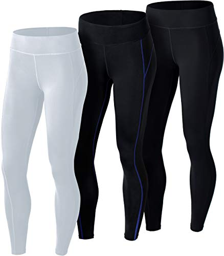 ATHLIO Women's Thermal Yoga Pants, Fleece Lined Compression Workout Leggings, Winter Athletic Running Tights, 3pack(lxp73) - Black/Black & Purple/White, Small