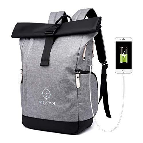 ZOE Voyage Rolltop Rucksack, wasserdicht, Tagesrucksack mit Laptopfach und USB Ladeanschluss, Reiserucksack grau-schwarz 21-31l
