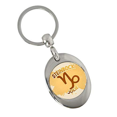 Schlüsselanhänger mit Namen Jolie und Sternzeichen Steinbock   Namens-Anhänger mit Einkaufs-Chip für Kinder und Erwachsene