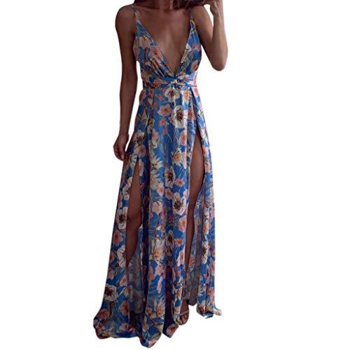 Elegante Kleider Damen Kleid Cocktailkleider Ronamick Frauen Sommer Boho Riemchen Sexy Deep v-Neck Long Maxi Party Strand Kleider(M, Blau)