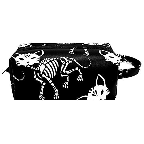 Neceser de viaje para colgar cosméticos para mujeres y niñas, impermeable, esqueletos de Halloween, gato