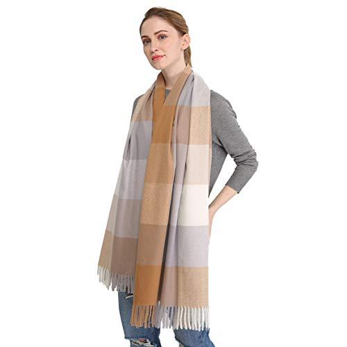 Longwu Bufanda de lana de cachemira suave para mujer Manta y envoltura de pashmina grande Manta de estola cálida Caqui#
