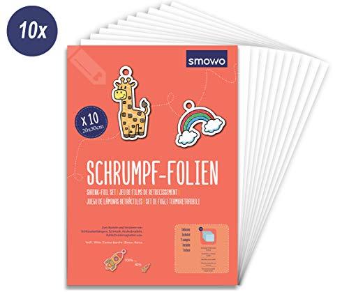 Smowo 10 Stück Schrumpffolien transparent - schrumpfende Plastikfolien zum basteln - A4 schrumpffolienplatten matt