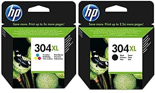 HP 304XL N9K07AE y N9K08AE Cartucho Original para impresorasde inyección de Tinta, Compatible con DeskJet 1110, 2130 e 3630, HP OfficeJet 3830 e 4650, HP Envy 4520, Pack de 2