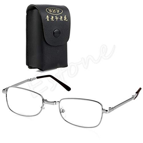 sayletre Blaulichtschutzbrille Vinatge Retro +1.0 +1.5 +2.0 +2.5 +3.0 +3.5 +4.0 Blaulichtfilterbrille mit Ledertasche Lesebrille für Computertelefone für Frauen Männer Zusammenklappbar