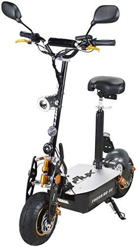 E-Scooter Roller Original E-Flux Freeride X2 2000 Watt 60V mit Straßenzulassung 13x5-6 Reifen Extra groß Elektroroller E-Roller stärkster E-Roller mit Straßenzulassung (Schwarz/Gold)