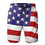 Mayblosom Pantalones cortos de playa para hombre con bandera de Estados Unidos de América de verano para nadar, de secado rápido, pantalones cortos divertidos 3D impresos ropa de playa con cordón