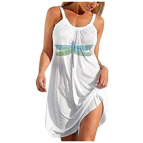 Vestido Bohemio Sin Mangas para Mujer Falda de Playa con Honda Falda Corta de Vacaciones en La Playa de Hawaii Vestido Estampado de Gran Tamaño