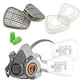 3M Juego Máscara serie 6000 Tamaño S 6100 con filtro de gas 6059 ABEK1 con filtro de partículas 5935 P3 R y tapa de filtro 501 con tapones para los oídos SmartProduct