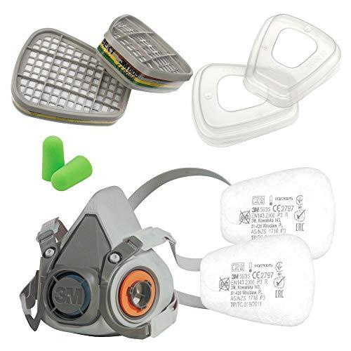 3M Set Halbmaske Serie 6000 Größe M 6200 mit Gasfilter 6059 ABEK1 mit Partikelfilter 5935 P3 R Filter und 501 Filterdeckel mit SmartProduct Gehörschutzstöpsel