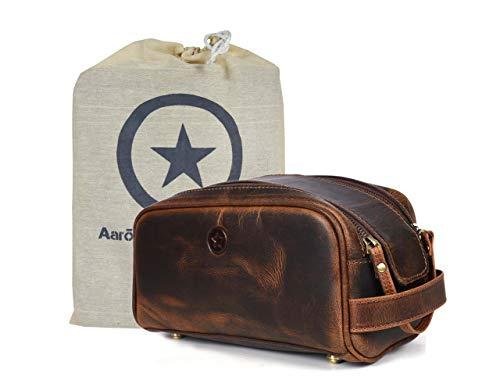 Aaron Leather Goods - Bolsa de viaje de piel premium de 25,4 cm con forro impermeable, hecha a mano, diseño vintage, regalo para el día del padre