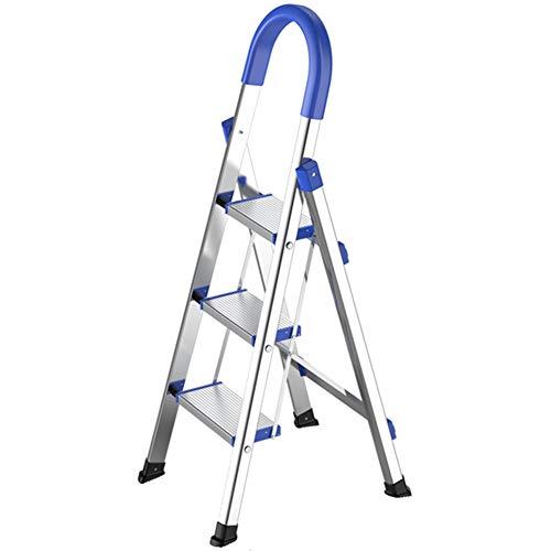 Escaleras Plegables Escalera de 3 peldaños de acero inoxidable con agarre manual - Escaleras de mano plegables altas multiusos para exteriores interiores - Carga 150kg