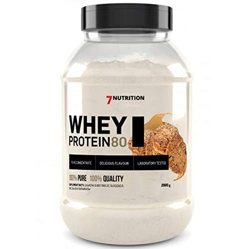 7Nutrition Whey Protein 80 Proteine del Siero di Latte con Aminoacidi a Catena Ramificata - BCAA ed EAA - Costruzione Muscolare (Cookies, 2000g)